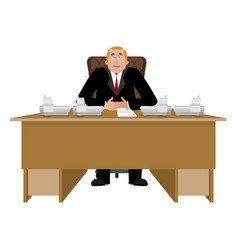 President at desk big boss at table director in vector