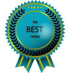 realistic golden - blue label - badge vector image