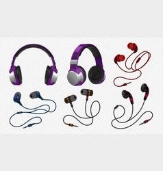 Realistic headset wireless gaming earphones with vector