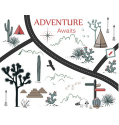 roads mountains and cacti adventure map design vector image