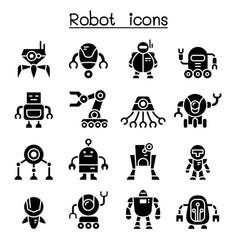 robot icon set vector image