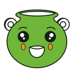 Saint patrick cauldron kawaii character vector