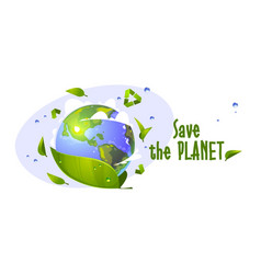 save planet cartoon banner with earth globe vector image