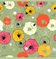 seamless ornate decorative floral pattern bright vector image