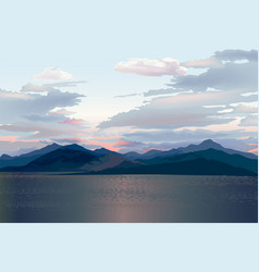 seaside skyline sea sunset mountain and hills vector image