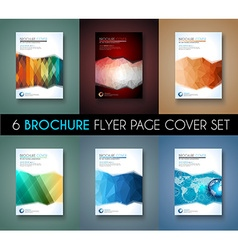set 6 brochure template flyer design vector image