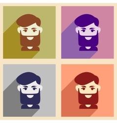 Set of flat web icons with long shadow men haircut vector