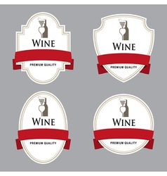Set of wine labels with red tape vector