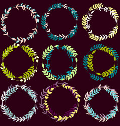 set of wreaths with leaves vector image