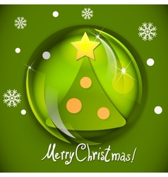 Snow globe with Christmas Tree vector image
