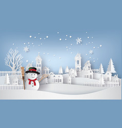 snow man in the village vector image