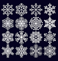 snowflakes set white winter elements for design vector image
