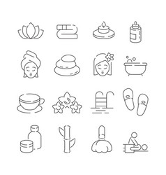 spa icon set wellness therapy massage woman vector image