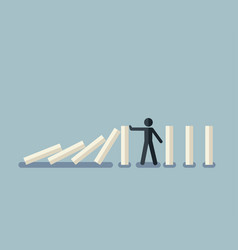 Stick figure stopping the domino effect vector