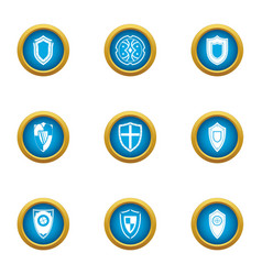 Stronghold icons set flat style vector
