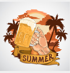 summer beer party element with beach view a vector image
