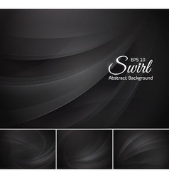 Swirl abstract background - black vector image