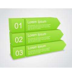 three 3d green arrows vector image