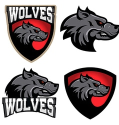 Wolves sport team logo template mascot vector