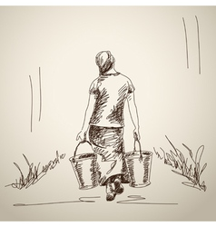 Woman carries a bucket vector