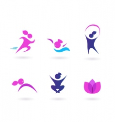 women sport and fit icons vector image