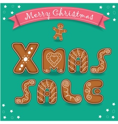 Xmas sale Merry Christmas Gingerbreads font vector