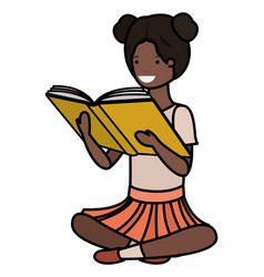 Young black student girl sitting reading book vector