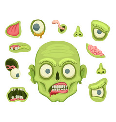 Zombie creation kit scary portrait with different vector