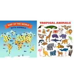 zoo animals banner set cartoon style vector image