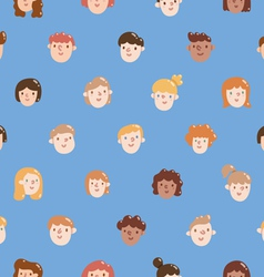 Boys and girls colorful faces seamless pattern vector image vector image