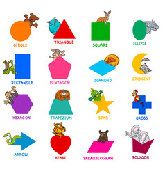 geometric shapes with animal characters set vector image vector image