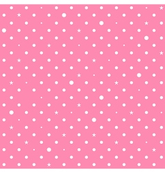 Pink White Star Polka Dots Background vector image