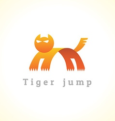 Tiger in a jump stylize logo vector image vector image