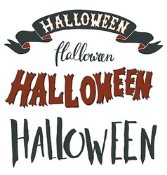 Collection of Halloween hand lettering isolated on vector image