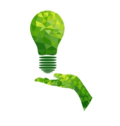 Ecology concept lamp and hand geometric vector image