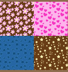 nature flower hearts seamless pattern vector image vector image