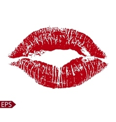 Print of red lips on a white vector image