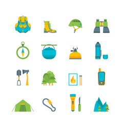 cartoon traveling camping and hiking set vector image