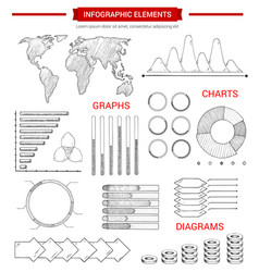 infographic elements with sketched chart graph vector image