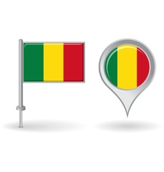 Malian pin icon and map pointer flag vector image vector image