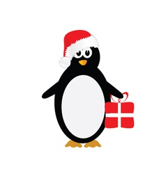 penguin with christmas hat color vector image