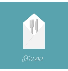 Silver fork knife and napkin Menu cover in flat vector image vector image
