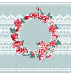 Vintage floral lace background with roses vector image