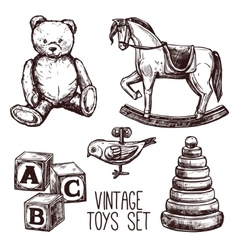 Vintage Toys Set vector image vector image