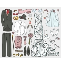 Wedding fashionDoodle bridegroom dressclothing vector image