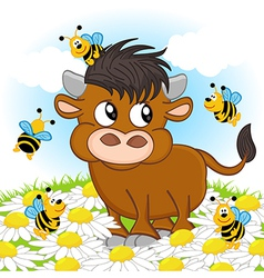 bull and bee vector image vector image