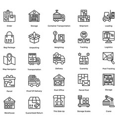 logistic delivery icons set 3 vector image
