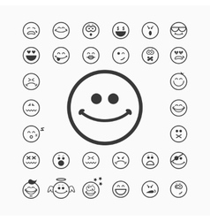 Smiley faces icons vector image vector image