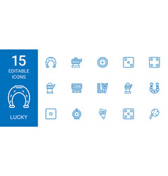 15 lucky icons vector image