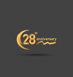 28 years anniversary logotype with double swoosh vector